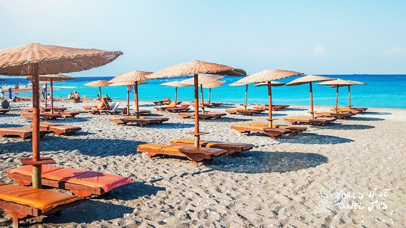 Why is Faliraki beach Rhodes the most popular beach from the island?
