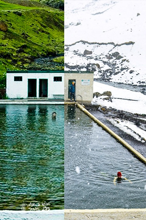 Iceland Natural Bath Summer vs Winter