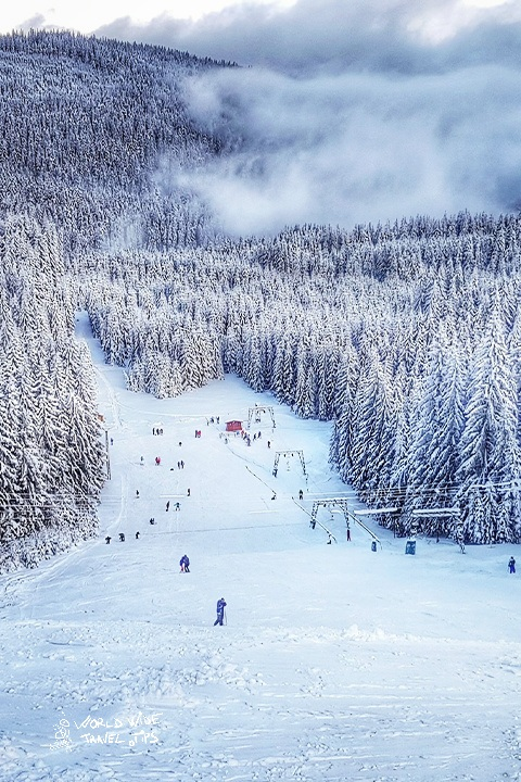 Romania Winter Ski Slope in the mountains snow