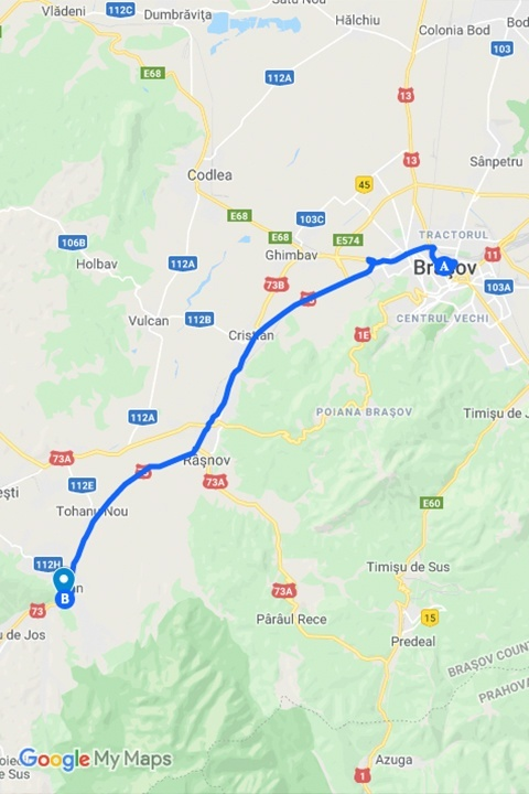 Brasov to Bran by car map