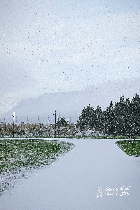 Iceland Akureyri Snowing in the morning