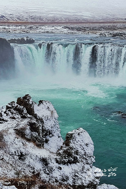 Iceland Godafoss Waterfall winter