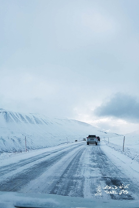 Myvatn area Road covered in snow