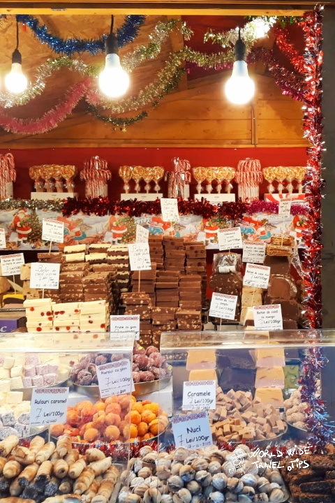 Sweets Store at Christmas market in Romania
