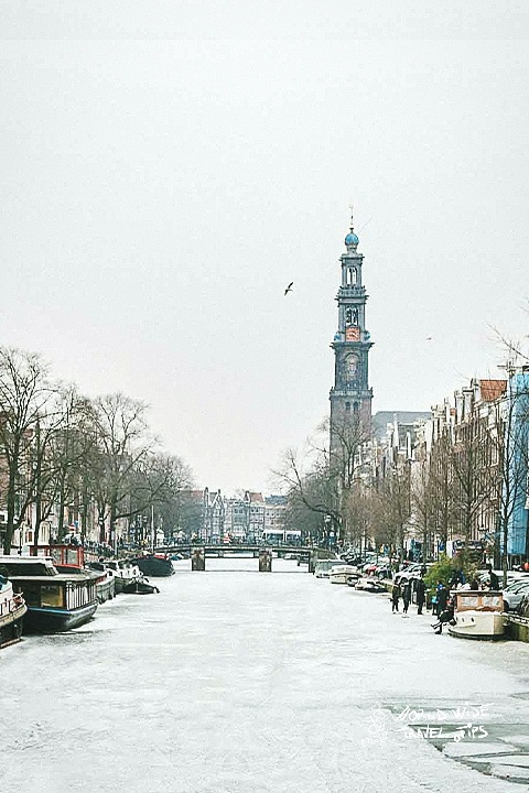 Winter in Amsterdam ice canal copy