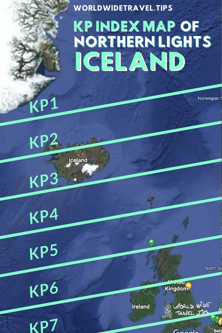 KP Index Map of Northern Lights in Iceland