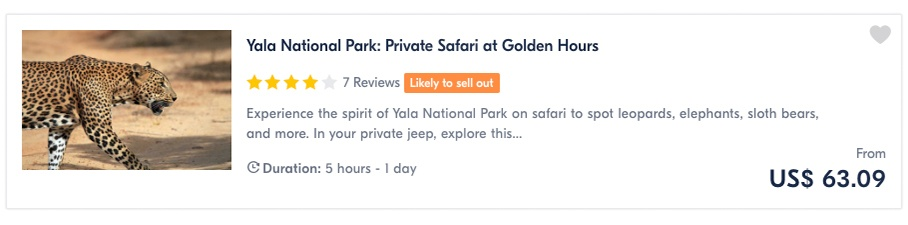 Yala National Park Private Safari at Golden Hours