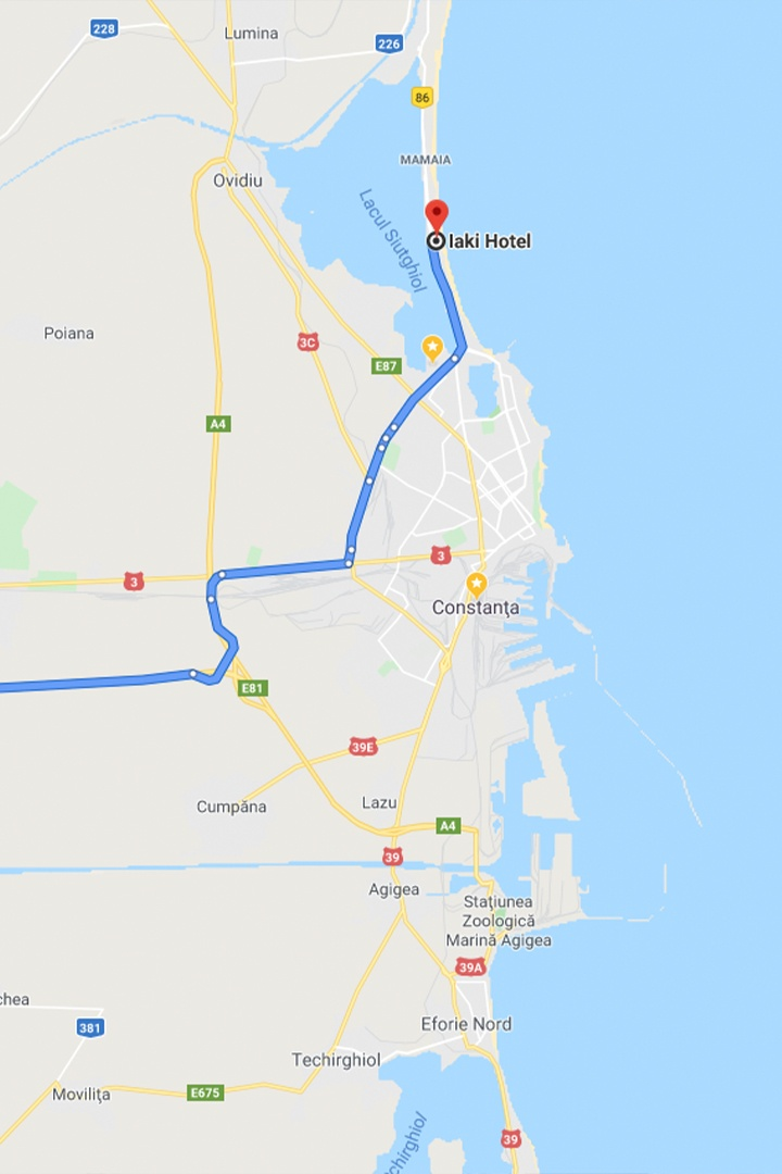 Bucharest to Constanta by car map