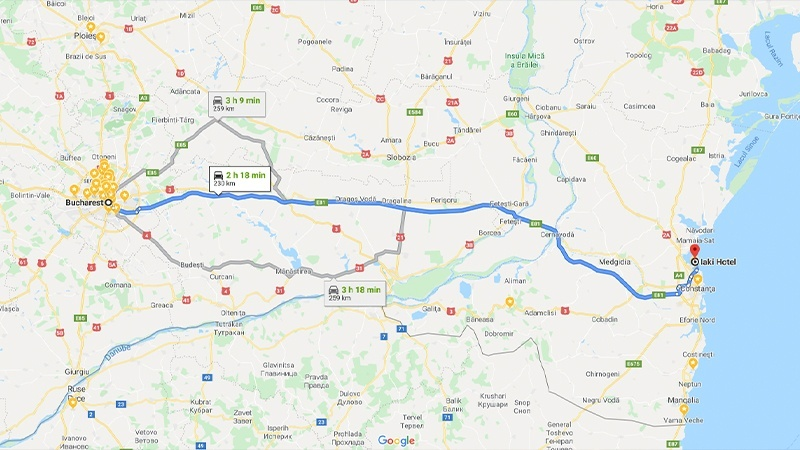 Bucharest to Constanta by car