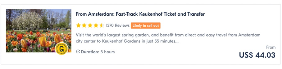 From Amsterdam Fast-Track Keukenhof Ticket and Transfer