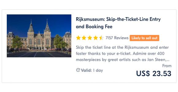 Rijksmuseum Skip-the-Ticket-Line Entry and Booking Fee