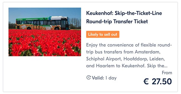 Keukenhof Skip-the-Ticket-Line Round-trip Transfer Ticket