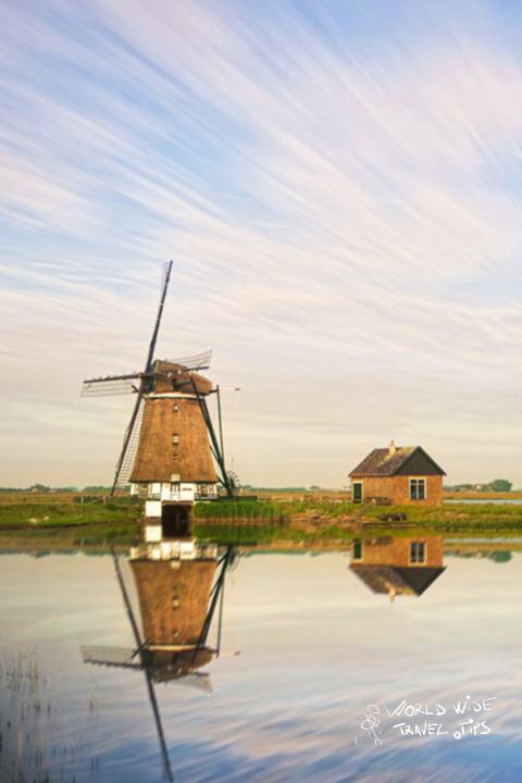 Netherlands Zaanse Schans Windmill Landscape