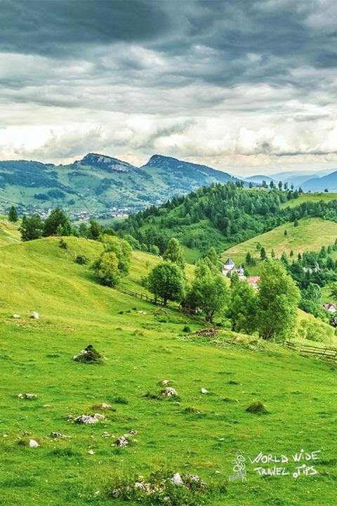 Romania weather in spring hills in transylvania