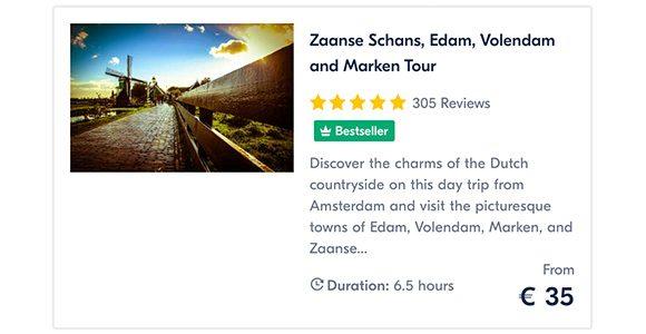 Zaanse Schans, Edam, Volendam and Marken Tour