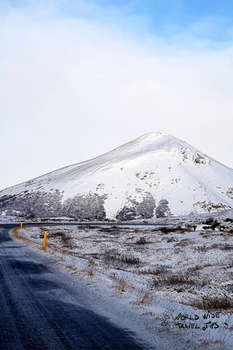 Iceland Road snow Ice Mountain blue sky coulds