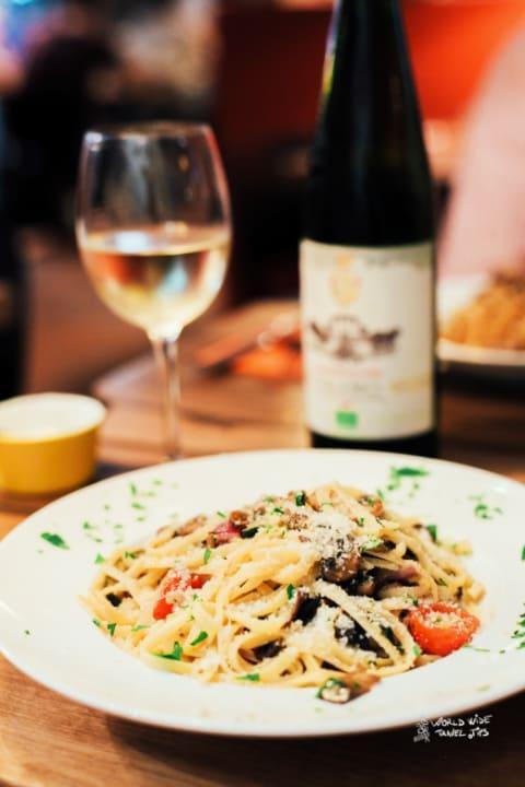 Italy food Pasta and Italian wine