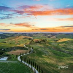 Italy San Quirico dOrcia Sunset in Tuscany hills best places to go Italy