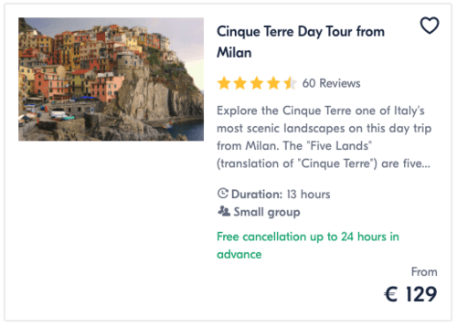Cinque Terre Day Tour from Milan
