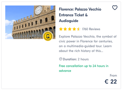 Florence Palazzo Vecchio Entrance Ticket & Audioguide