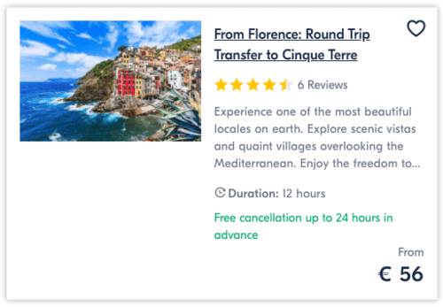 From Florence Round Trip Transfer to Cinque Terre