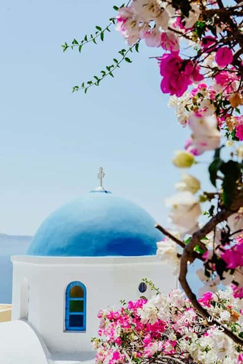 Santorini Greece Blue chapel roof
