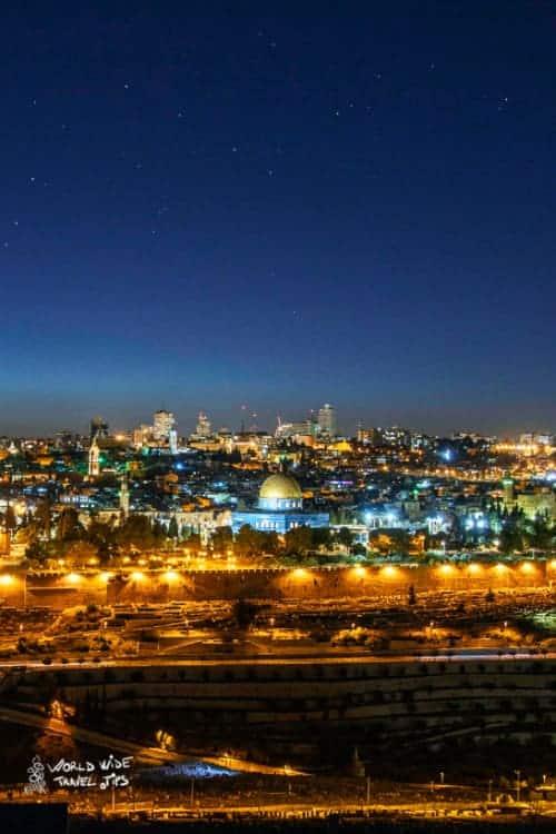Old city of Jerusalem by night