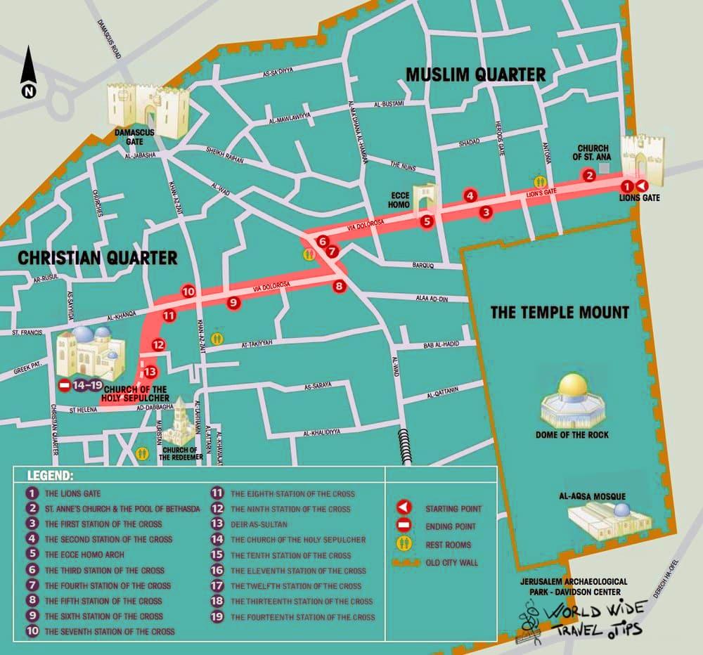 via dolorosa map Jerusalem