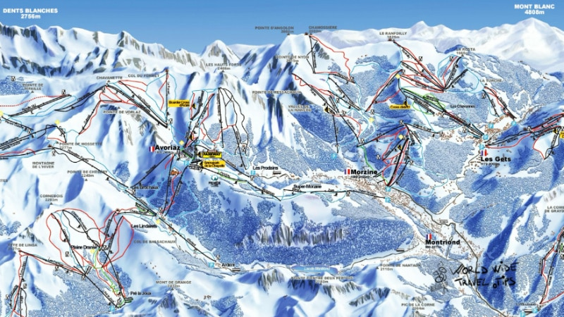 Avoriaz and Morzine Les Gets Ski Map Slopes Pistes
