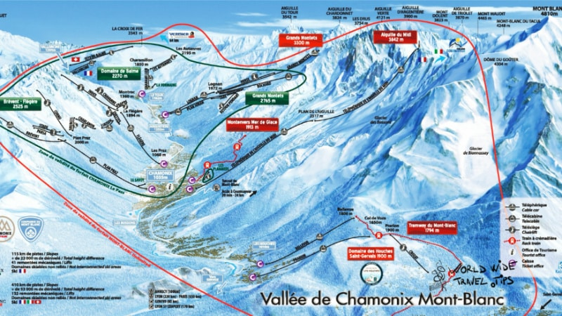 Chamonix Ski Map Slopes Piste Map