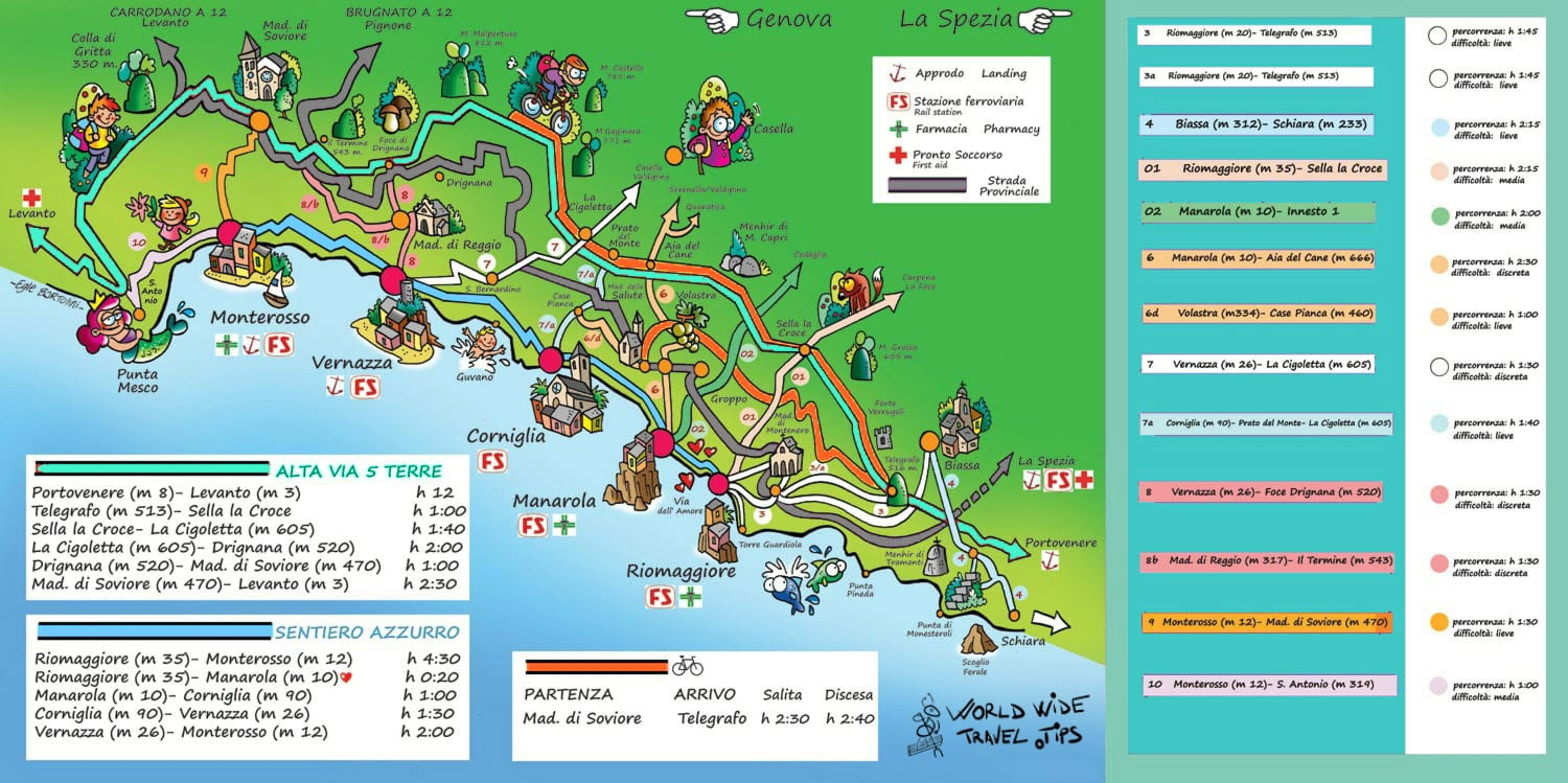 Cinque Terre Map of Towns Italy