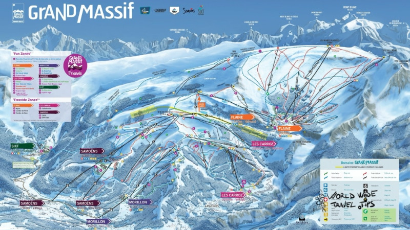 Les Carroz Ski Map France ski resorts near Geneva
