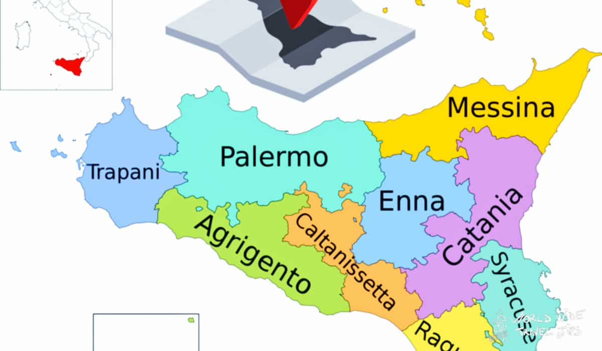 Where is the island of Sicily Italy Map regions