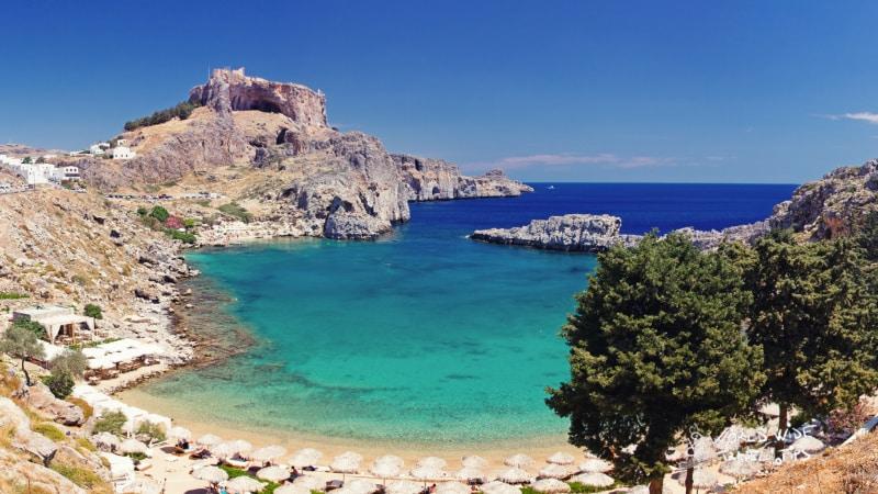 St Paul s Bay in Rhodes Greek Island in Greece