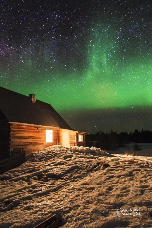 Alaska Northern Lights Cabin Aurora Borealis in Alaska