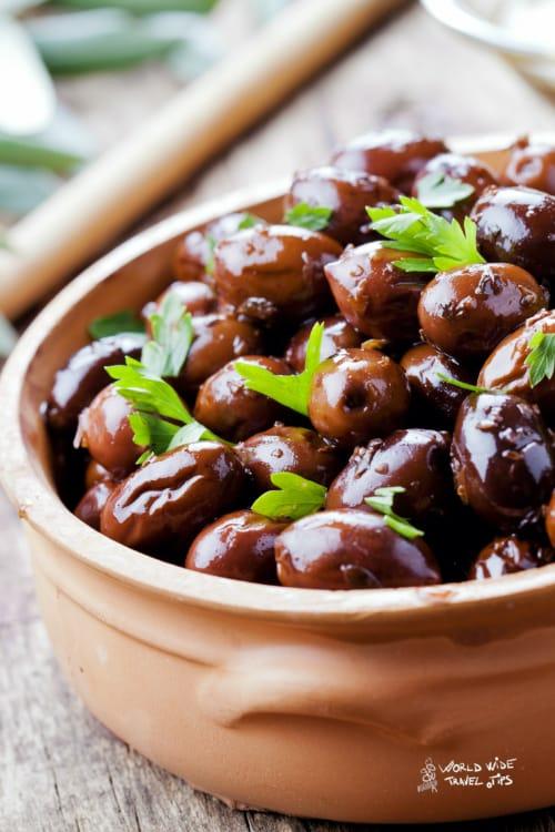 Bowl of Black Olives Crete Greece Food
