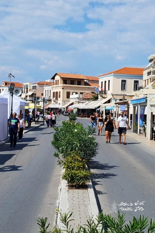 Aegina Greek island from Athens Greece Port City Street Restaurants