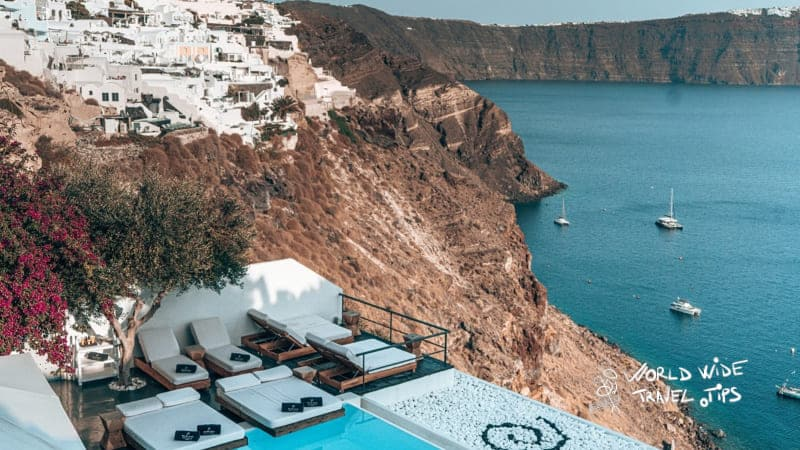 Andronis Suites Luxury Pool with view of Santorini