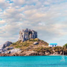 Blue sky on Kastri Island near Kefalos town Kos island best Greek island to visit in May