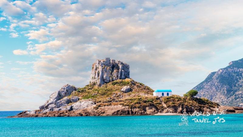 Blue sky on Kastri Island near Kefalos town Kos island best Greek island to visit in May