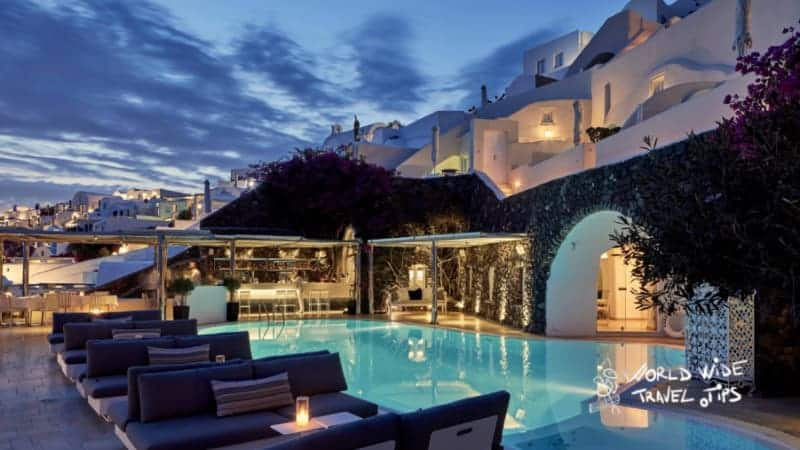 Canaves Oia Suites Petra Restaurant Pool night
