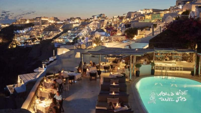 Canaves Oia Suites Petra Restaurant Pool Luxury hotel in Greece Santorini