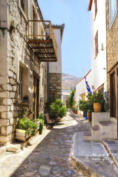 Greek Island alley street narrow street Hydra Greek Island Skopelos