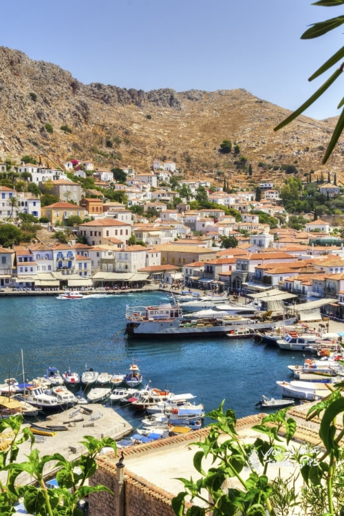 Hydra Greece City Panorama Fishing Boats in Port