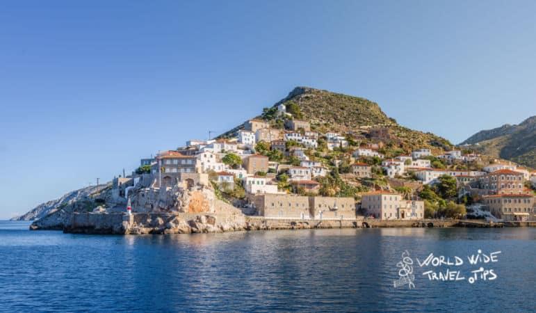 Hydra Island Main Harbour seen from sea best Greek Islands near Athens