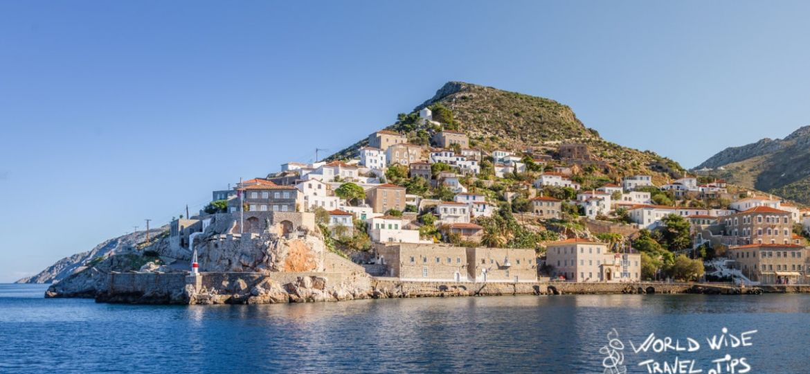 Hydra Island Main Harbour seen from sea best Greek Islands near Athens
