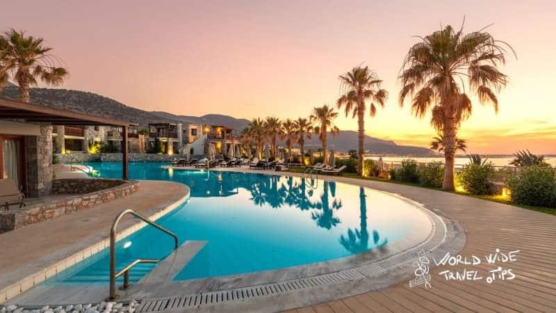 Ikaros Beach Resort Relaxing Pool sunset