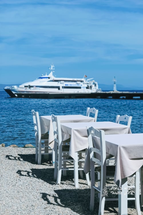 Kos Greek Island Cruise Boat Restaurant with sea view on the Mediterranean Sea