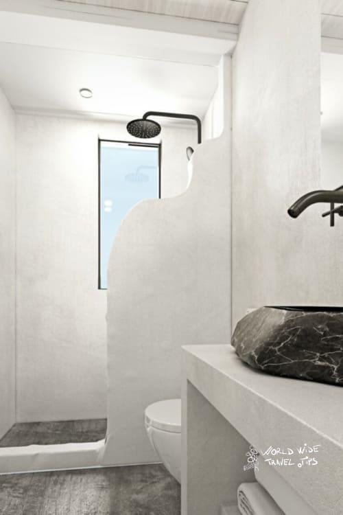 Mr and Mrs White Santorini Hotel Bathroom White