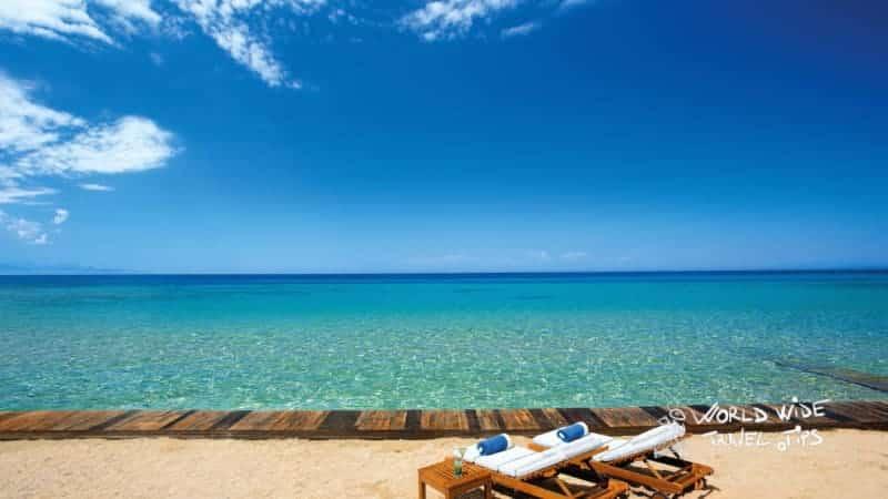 Porto Zante Villas and Spa Private Beach Sunbeds Couple